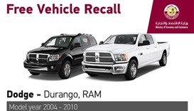 Ministry recalls two Dodge models over airbag