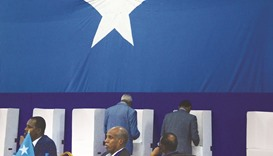 Somali lawmakers cast their vote to elect a new president inside Mogadishu airport yesterday.