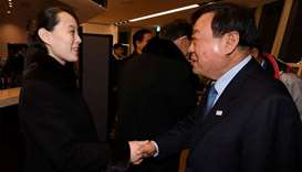 Kim Yo Jong, the sister of North Koreas leader Kim Jong Un, shakes hands with president of the Pyeon