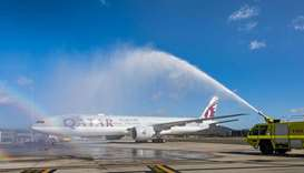 Qatar Airways celebratory water cannon salute Doha flight gets  celebratory water cannon salute at C