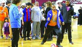 Football for blind a hit at Aspire Hall
