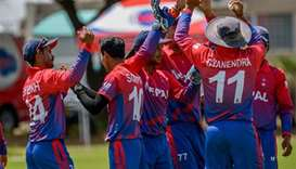 Nepal cricket team celebrating