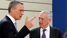 NATO Secretary-General Stoltenberg and US Secretary of Defence Mattis attend a NATO defence minister