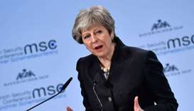 British Prime Minister Theresa May gives a speech during the Munich Security Conference in Munich