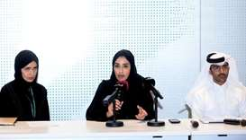 QF officials Machaille al-Naimi, Mohamed Fakhroo and Alya al-Suwaidi at the press conference