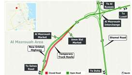 Diversion on Temporary Truck Route  in Al Mazrouah area