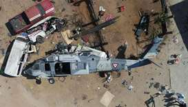 Aerial view of the military helicopter that fell on a van in Santiago Jamiltepec, Oaxaca state, Mexi