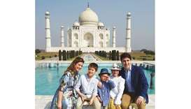 Canadian Prime Minister  Justin Trudeau, his wife Sophie Gregoire and his children pose for a photog