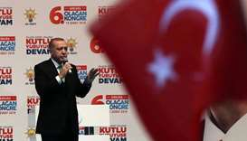 Recep Tayyip Erdogan attends the sixth ordinary provincial congress of Turkey's ruling AK Party