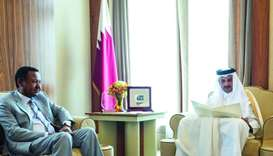 His Highness the Emir Sheikh Tamim bin Hamad al-Thani has received a written message from Sudanese P