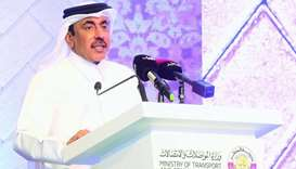 HE the Minister of Transport and Communications Jassim Seif Ahmed al-Sulaiti addressing the gatherin
