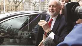 Opposition Labour Party leader Jeremy Corbyn arrives to speak to the EEF Manufacturer's Organisation