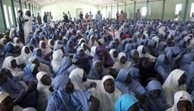 Nigeria girl students during a headcount after the attack.