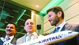 Italian ambassador Pasquale Salzano (right) with Qatar Airways Group chief executive Akbar al-Baker
