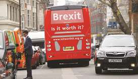 The anti-Brexit campaign group 'Is it worth it?' launch their campaign bus from outside parliament i
