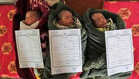 "Palestinian newborn triplets of the al-Saiqli family, named (R to L) ""Quds"" (Arabic for Jerusalem),"