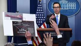 Treasury Secretary Mnuchin speaks during an on camera briefing on the administration's new North Kor