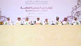 Al-Attiyah delivers the board of directors' report during QIC Group's annual general meeting yesterd