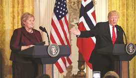 Norwegian Prime Minister Erna Solberg with US President Donald Trump