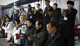 South Korean President Moon Jae-in, from bottom left, first lady Kim Jung-sook, Ivanka Trump, daught