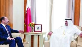 His Highness the Emir Sheikh Tamim bin Hamad al-Thani meeting with the Speaker of the Iraqi Council