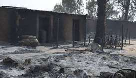 Scene from a burned out village after Boko Haram attack.
