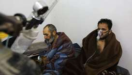 Syrians reportedly suffering from breathing difficulties following Syrian regime air strikes on the