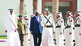 President of Sierra Leone, Ernest Bai Koroma, accompanied by His Highness the Emir Sheikh Tamim bin