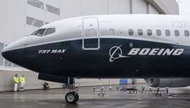 The first Boeing 737 MAX 7 aircraft sits on the tarmac outside of the Boeing factory