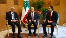 Lebanese President Michel Aoun meets with Prime Minister Saad al-Hariri, and Lebanese Parliament Spe
