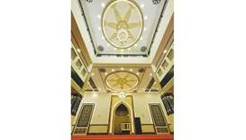 An interior view of a new mosque in Qatar.
