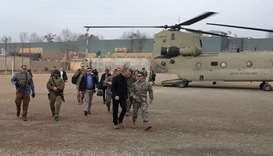 Acting Pentagon chief Patrick Shanahan (front 2nd R) arrives in Kabul