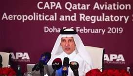 HE al-Baker addressing a media event at the recently concluded CAPA Qatar Aviation, Aeropolitical an