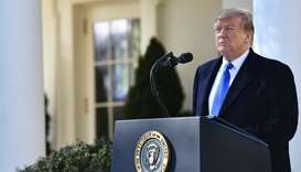 US President Donald Trump delivers remarks in the Rose Garden at the White House in Washington, DC