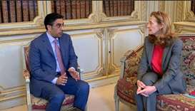 HE Dr Ali bin Smaikh al-Marri meets with French Minister of Justice of France Nicole Belloubet.