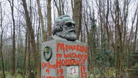 Karl Marx's London grave vandalised with red paint