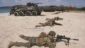 Amphibious assault craft take beach in US-Thai war drills