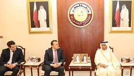 HE the Speaker of Advisory Council Ahmed bin Abdulla bin Zaid al-Mahmoud with a delegation of senior