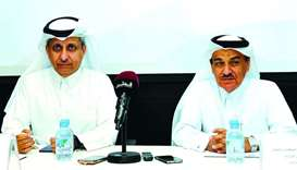 Sheikh Dr Khalid bin Jabor al-Thani and Dr Abdul Azeem Hussain announcing details of the Thyroid Can