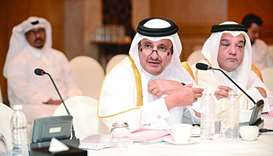 Qatar Chamber chairman Sheikh Khalifa bin Jassim bin Mohamed al-Thani speaking at the meeting.