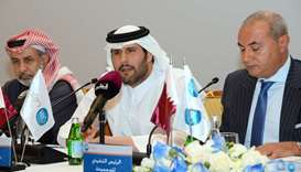 QIB chairman Sheikh Jassim bin Hamad bin Jassim bin Jaber al-Thani addressing bank's shareholders