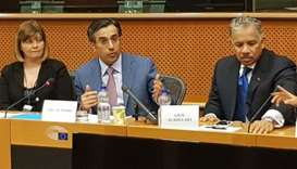 NHRC Chairman HE Dr Ali bin Smaikh al-Marri speaking at a hearing at the European Parliament.