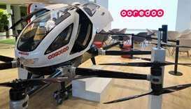 Aerial taxi at Ooredoo pavilion at Mobile World Congress 2019 (MWC19)