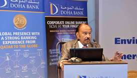 Dr Balachandran speaks at Doha Bank's knowledge sharing session on Saturday.