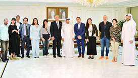 Qatar Chamber board member Dr Khaled Klefeekh al-Hajri with a delegation of journalists from the Bal