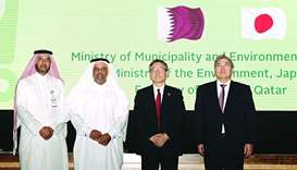 Officials of the Ministry of Municipality and Environment with the Vice-Minister for Global Environm