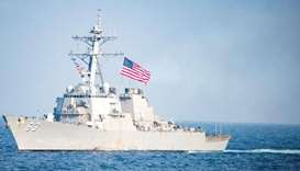 The Arleigh Burke-class guided-missile destroyer USS Stethem transits waters east of the Korean peni