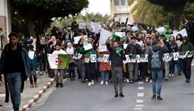 Algerian students protest on the main campus of the University of Algiers against ailing President A