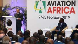 HE al-Baker delivering keynote address at the Aviation Africa Summit & Exhibition, in Kigali, Rwanda