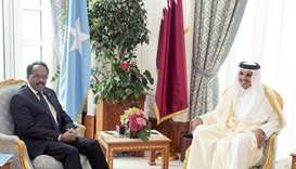 His Highness the Amir Sheikh Tamim bin Hamad al-Thani meeting with Somali President Mohamed Abdullah